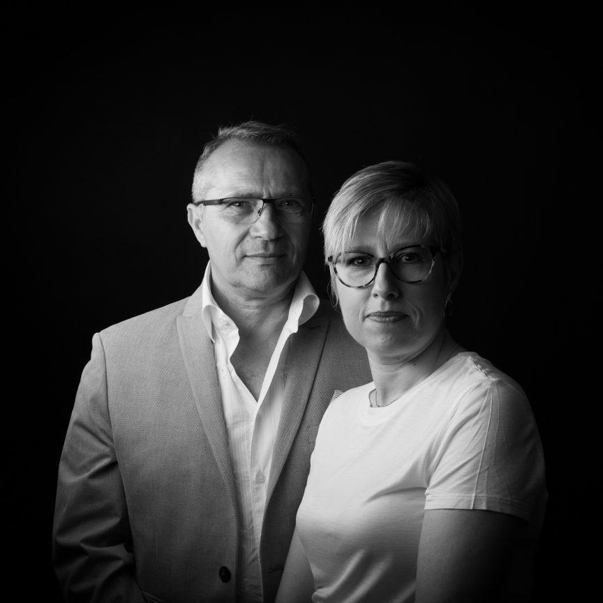 Portrait de couple noir et blanc